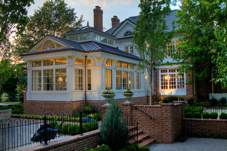 A georgian conservatory on a williamsburg style home for Home expansion ideas